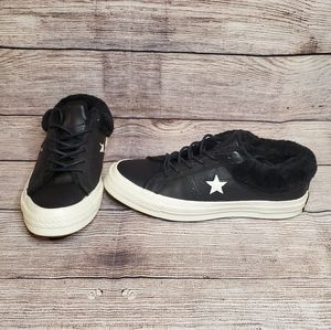 Converse one star black faux fur lined sneakers